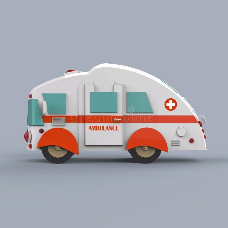 Bus dell'ambulanza su fondo grigio 3d rendono illustrazione vettoriale