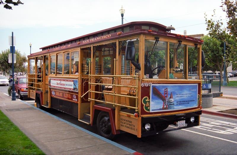 Bus della cabina di funivia di San Francisco fotografie stock