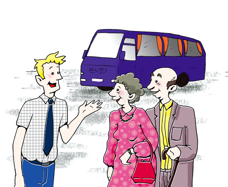 Bus driver talking to two olde vector illustration