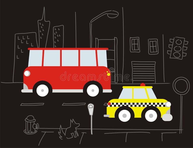 bus e tassì rossi sulla via illustrazione vettoriale