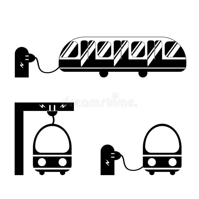 Bus elettrico dagli angoli differenti in bianco e nero per le icone ed il logos Il bus è ricaricato alla fermata dell'autobus dal illustrazione vettoriale