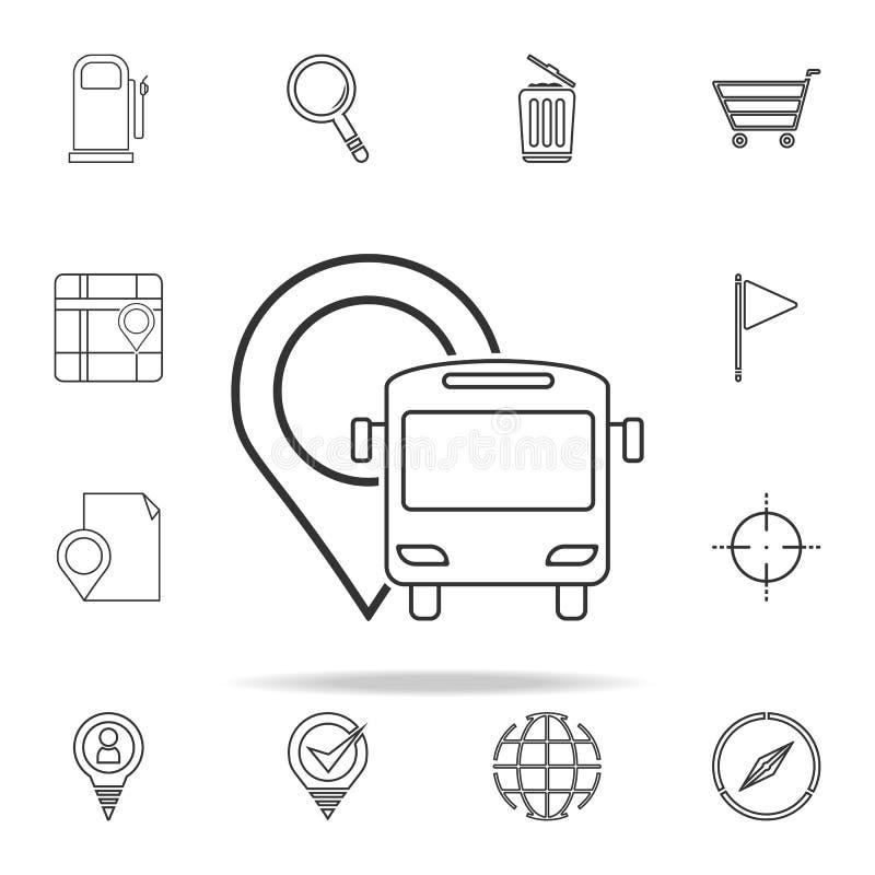 bus en speldpictogram voor Web wordt geplaatst dat en het mobiele algemene begrip van navigatiepictogrammen royalty-vrije illustratie
