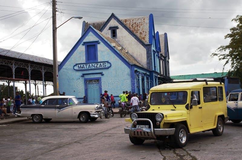 Bus en station in Matanzas in Cuba stock fotografie