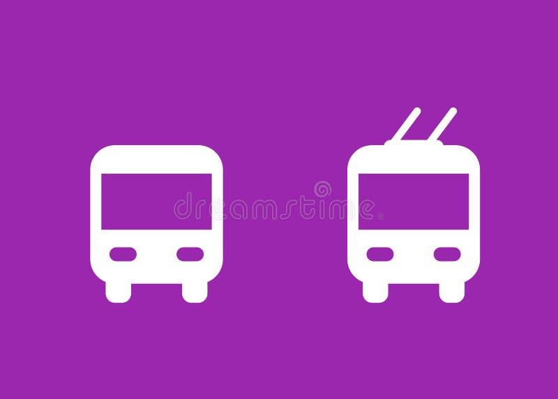 Bus en trolleybus de pictogrammen, vervoeren vectortekens stock illustratie