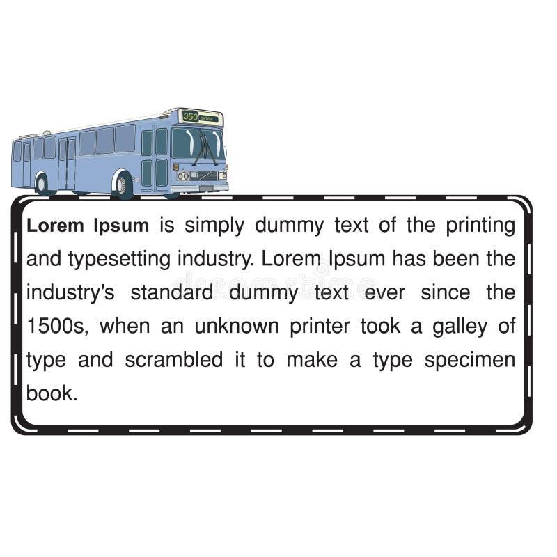 Bus en wegtekstmalplaatje vector illustratie