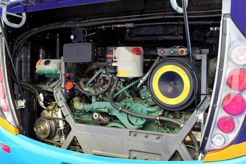 Bus engine angle royalty free stock photography