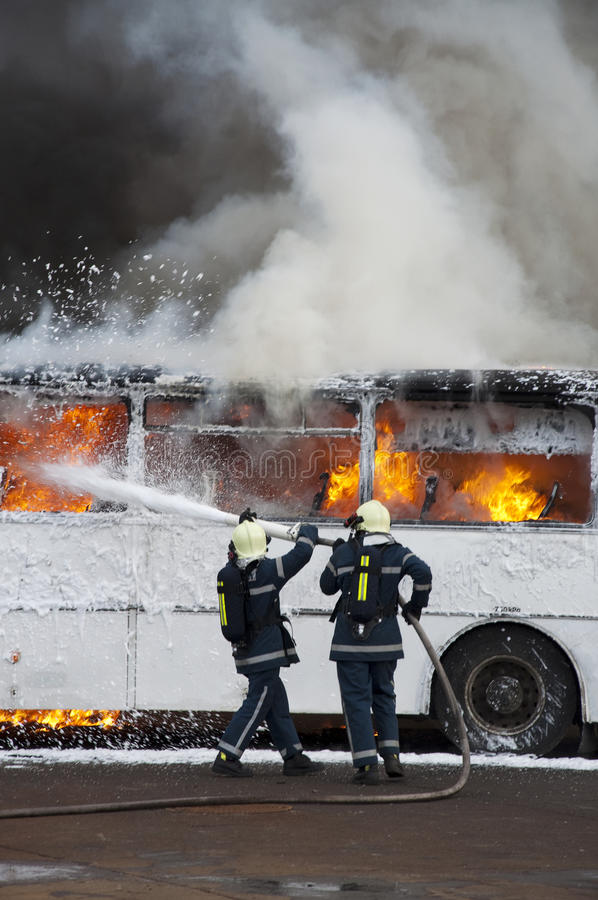 Bus fire stock images