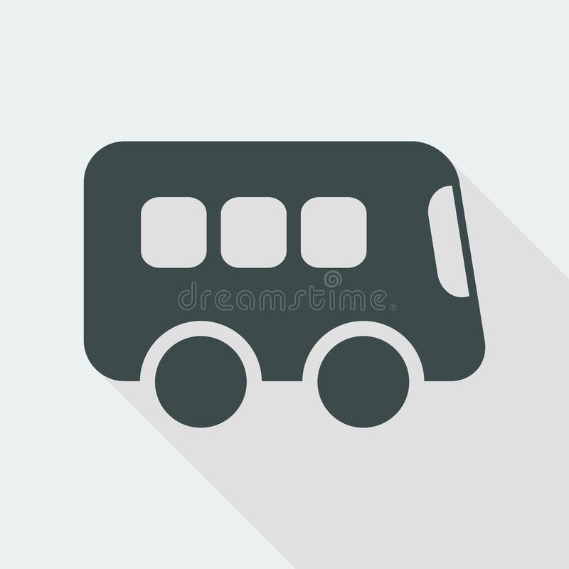Bus flat vector icon. Flat and isolated vector eps illustration icon with minimal design and long shadow stock illustration