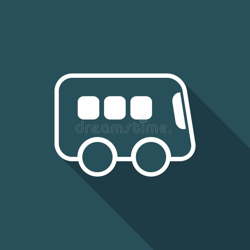 Bus flat vector icon. Flat and isolated vector eps illustration icon with minimal design and long shadow vector illustration