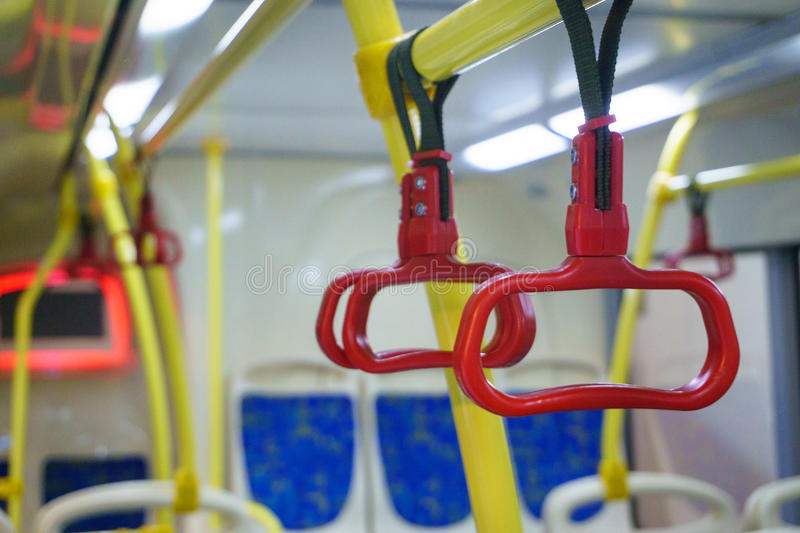 Bus hand-rail for standing passengers royalty free stock image