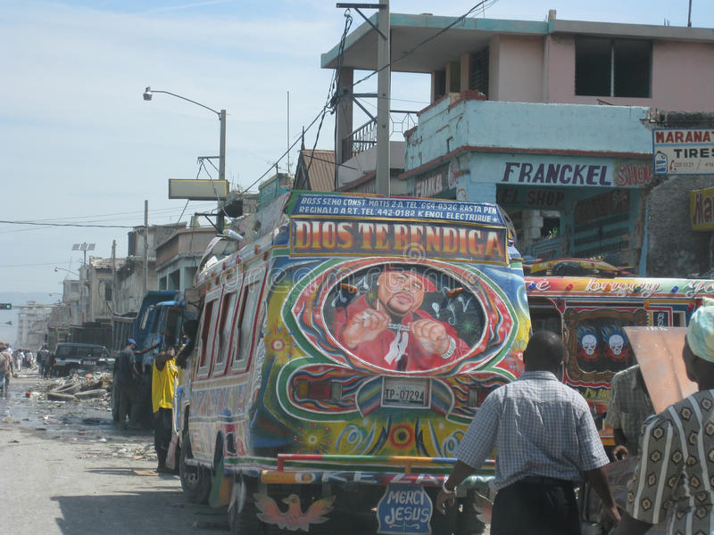 The bus of hope in haiti 3 stock image
