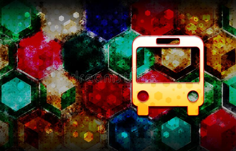 Bus icon abstract 3d colorful hexagon isometric design illustration background. Bus icon isolated on abstract 3d colorful hexagon isometric design illustration vector illustration