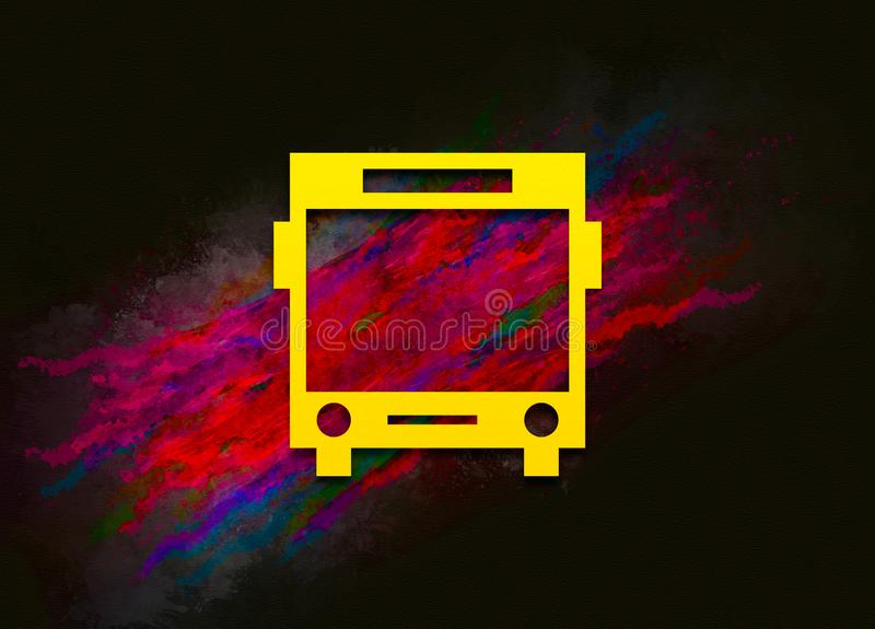 Bus icon colorful paint abstract background brush strokes illustration design. Creative bright red color texture fluid liquid waves vector illustration