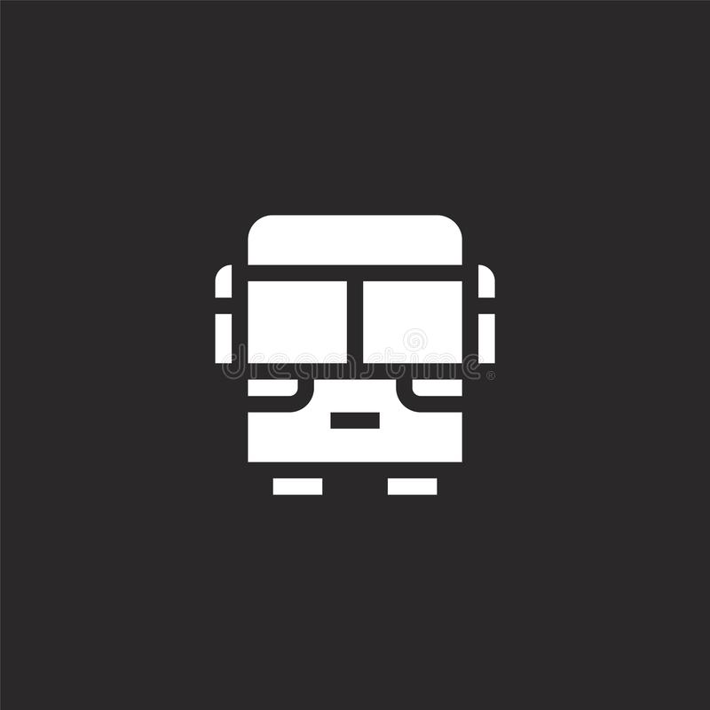 bus icon. Filled bus icon for website design and mobile, app development. bus icon from filled travel collection isolated on black stock illustration