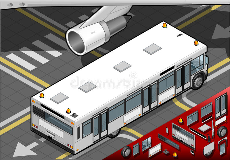 Bus isometrico dell'aeroporto nella retrovisione royalty illustrazione gratis