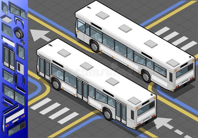 Bus isometrico nella retrovisione illustrazione vettoriale
