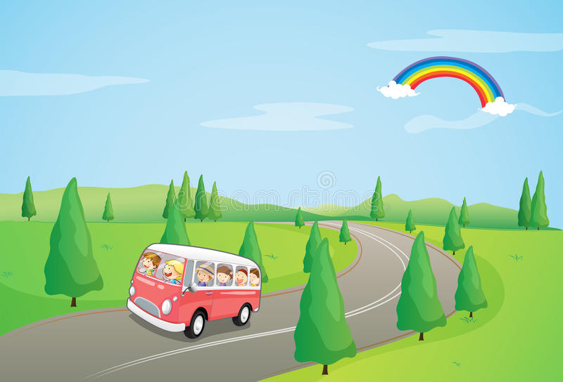 Download A Bus With Kids Running Along The Curve Road Stock Vector - Illustration of asphalt, drawing: 32709765