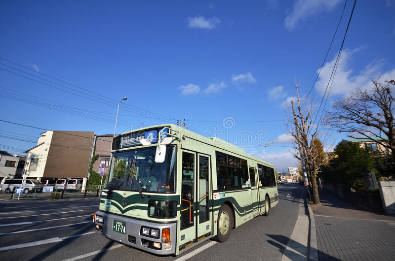 Bus in Kyoto, Japan. KYOTO, JAPAN - DECEMBER 01; 2016: Bus in Kyoto, Japan. The Kyoto City Buses are major mean of public transport in Kyoto. The buses have been royalty free stock image