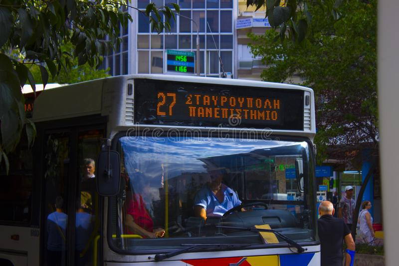 Bus line 27 in Thessaloniki royalty free stock photo