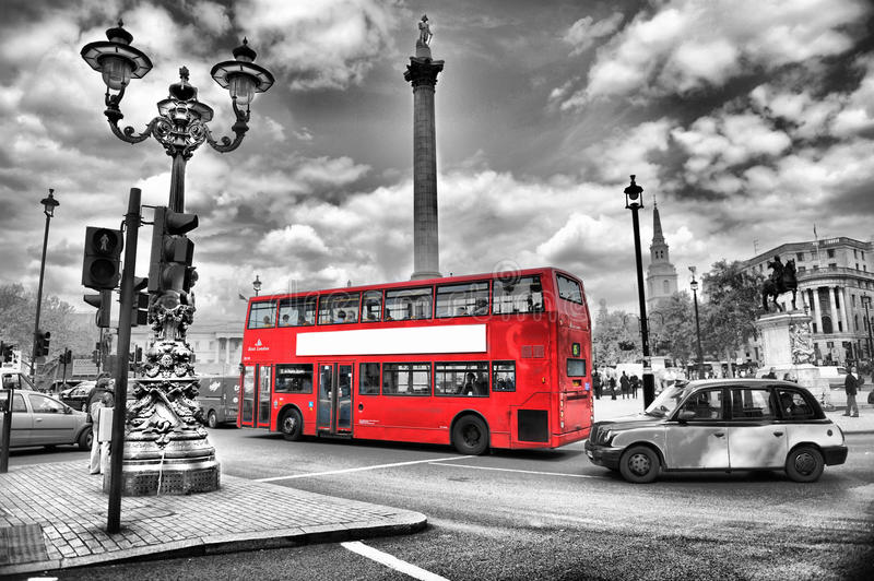 Bus in london. In black and white better for this picture royalty free stock photo