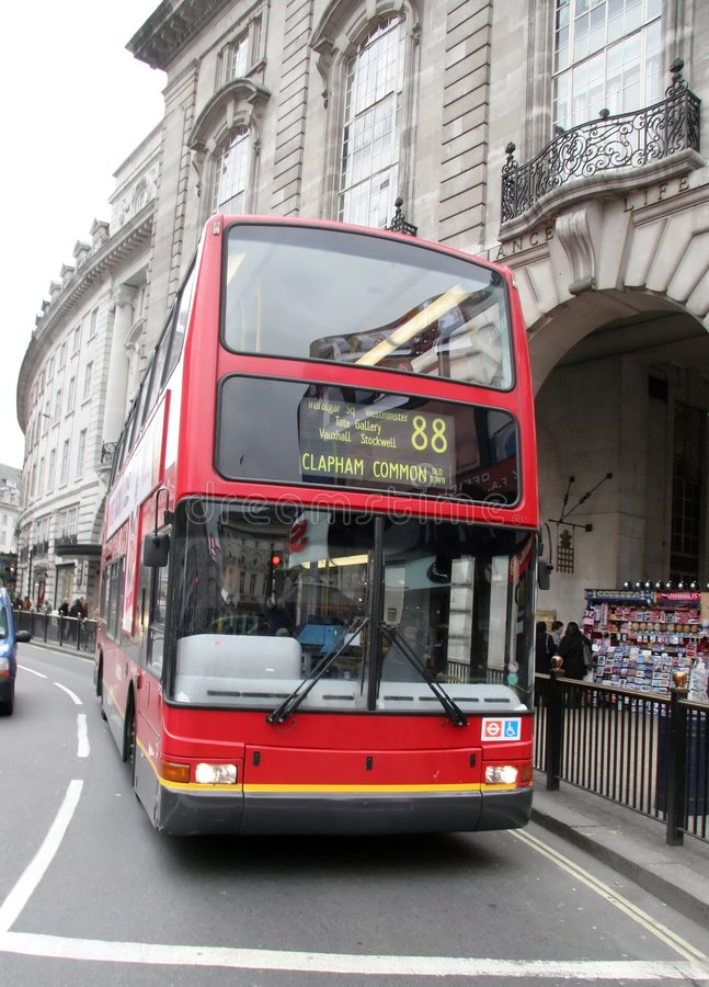 Bus in London. Bus on bussy street in london stock photography