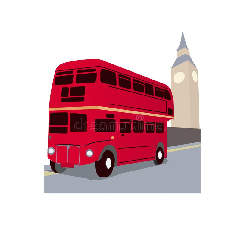 Bus in London clock tower stock images