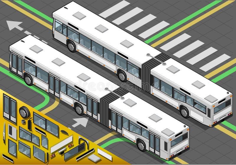 Bus lungo isometrico nella retrovisione royalty illustrazione gratis