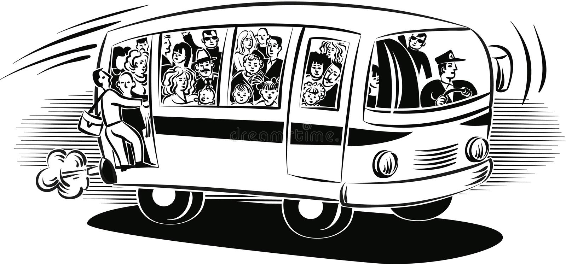 Bus met passagiers het reizen wordt overbelast die stock illustratie