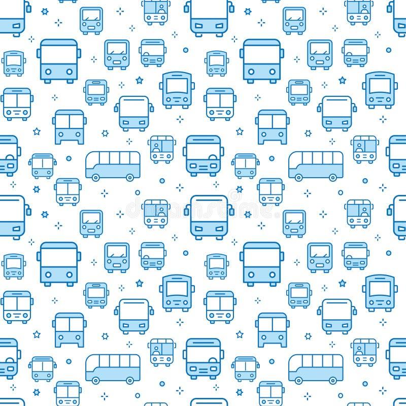 Bus naadloos patroon met pictogrammen Vector illustratie vector illustratie