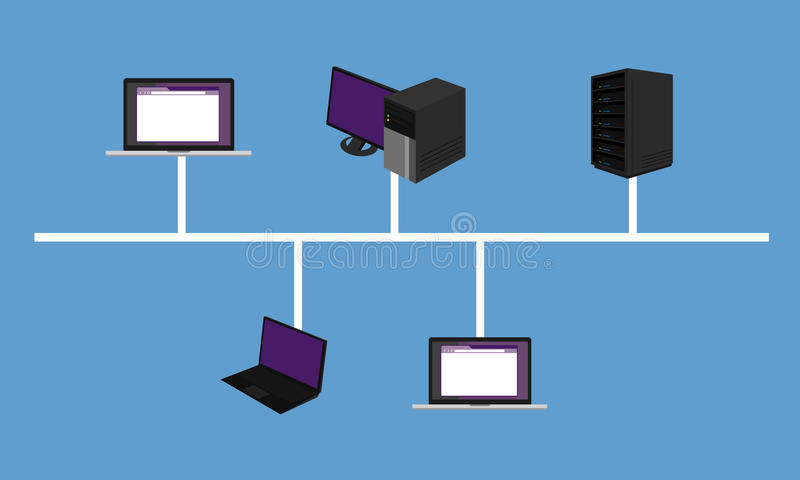 Bus network topology LAN design networking hardware backbone connected. Vector royalty free illustration