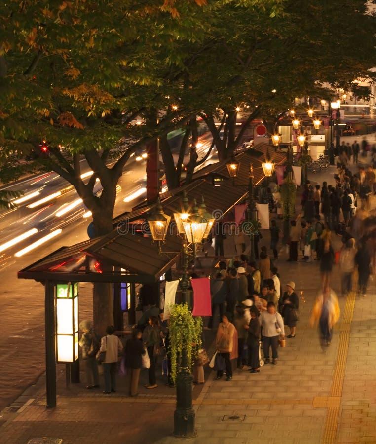 Bus Night Station Στοκ Εικόνες