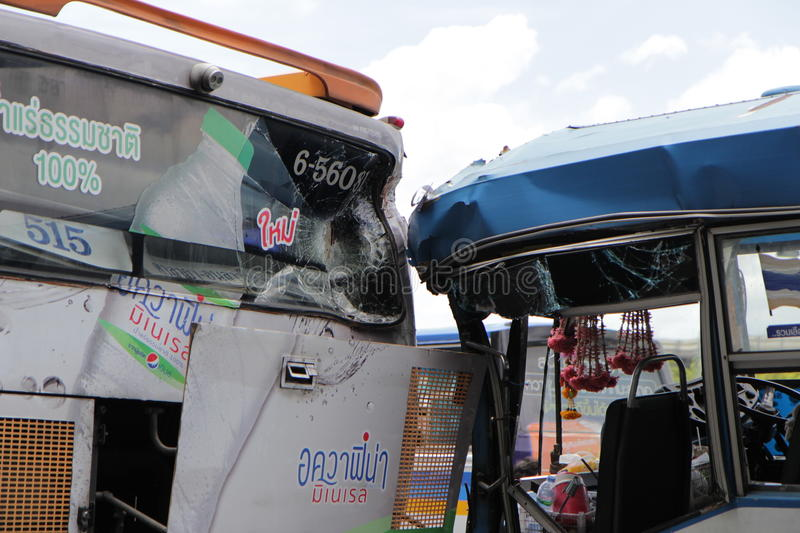 Bus No.8 Accident hit other bus at Victory monument Bangkok Thai stock photos
