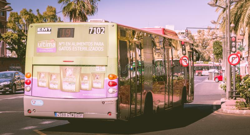 Bus number 7102 of the municipal transit company of Valencia EMT. Valencia, Spain - June 18, 2017 : bus number 7102 of the municipal transit company of Valencia royalty free stock photos