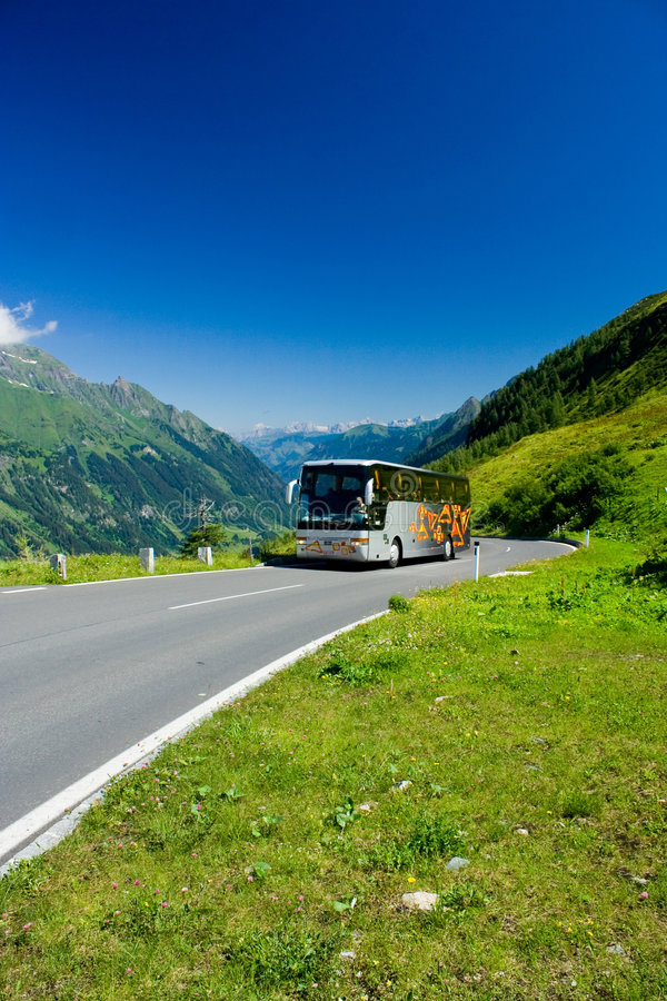 Free Bus On A Road In Alps Stock Photos - 5915903