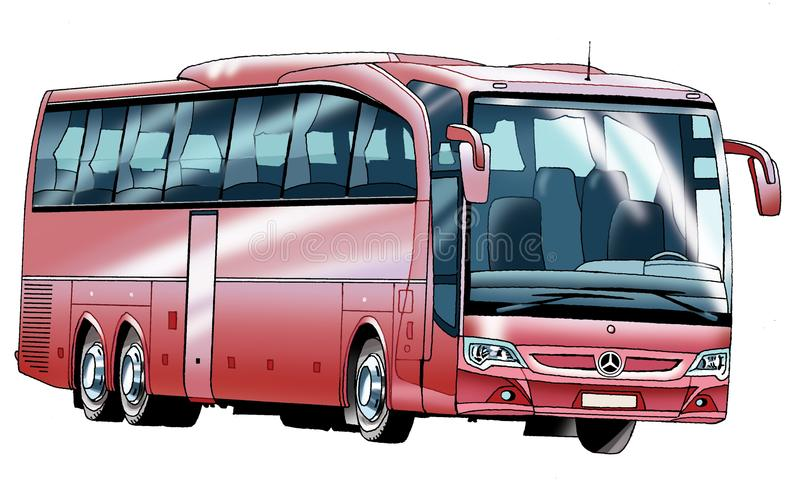 Bus passenger figure, the internal combustion engine comfort air suspension Luggage stock image
