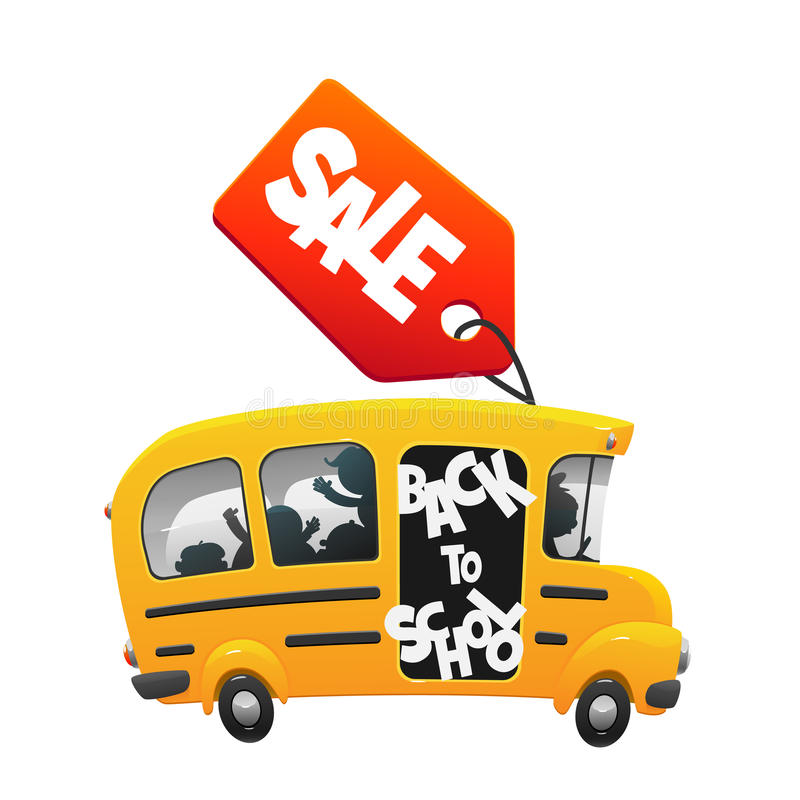 The bus ride back to school with the label sale stock illustration