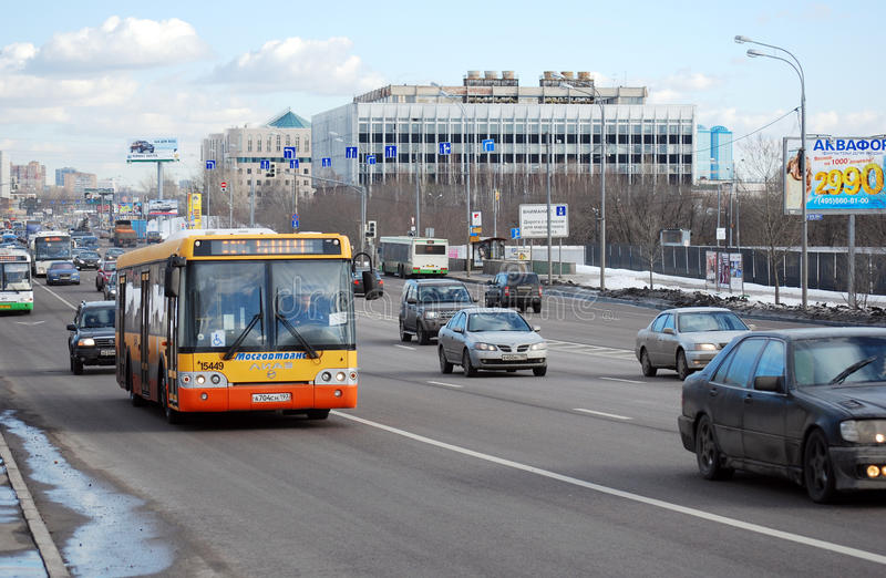 The bus 904 routes, moves on the allocated strip on Volokolamskoye Highway. Moscow stock image