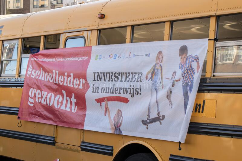 Bus School Leaders Sought At The Education Demonstration Amsterdam The Netherlands 2019.  stock photo