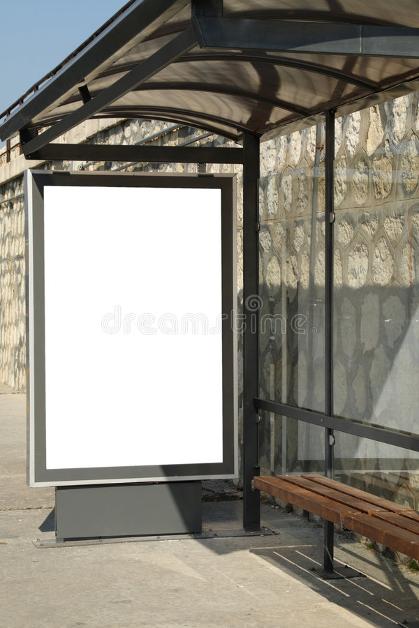 Bus shelter stock photo
