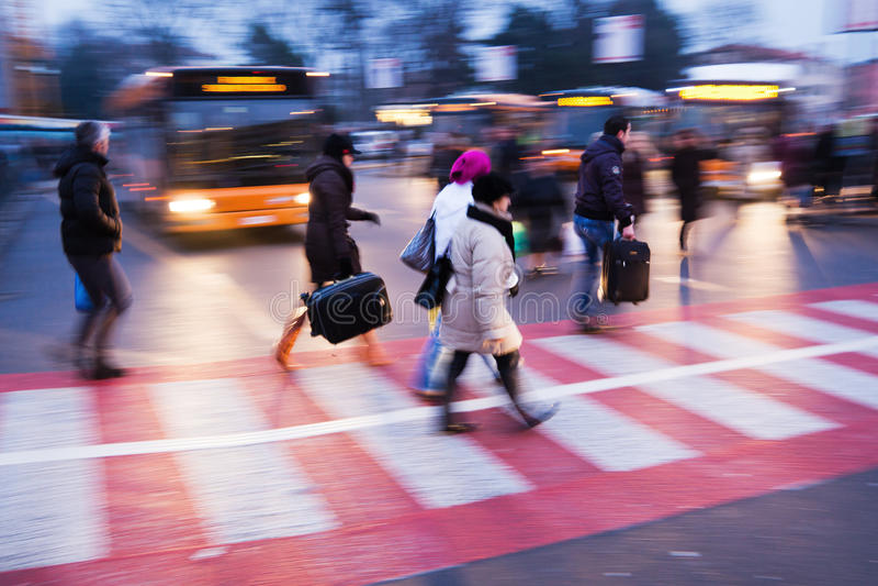 Download At a bus station stock image. Image of aspalt, walking - 29099931
