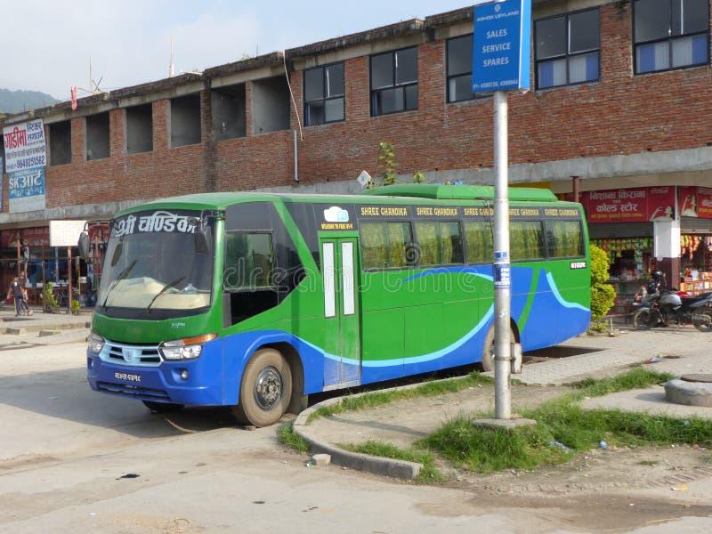 Bus station in Kathmandu stock photo
