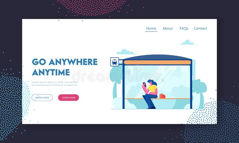 Bus Station Website Landing Page, Woman Sitting on Bus Stop Bench Reading Messages on Smartphone, Citizen Character. Waiting Public City Transport Web Page royalty free illustration