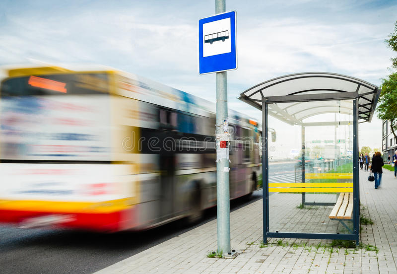 Bus stop stock photo