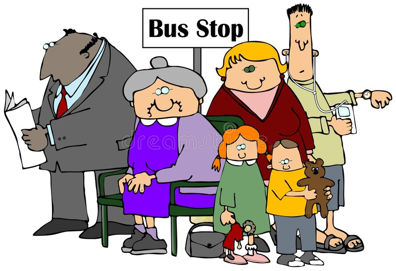 Download Bus Stop stock illustration. Illustration of music, time - 5063887