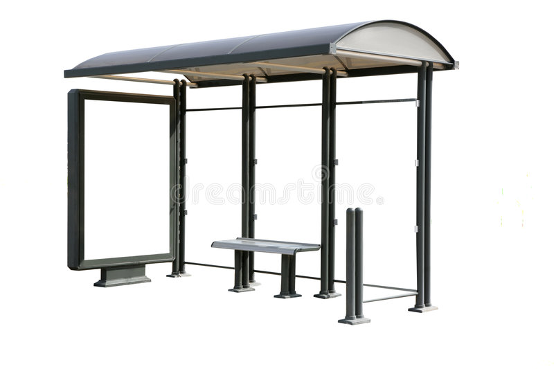 Bus stop. Shelter Isolated on White with Copy Space Billboard