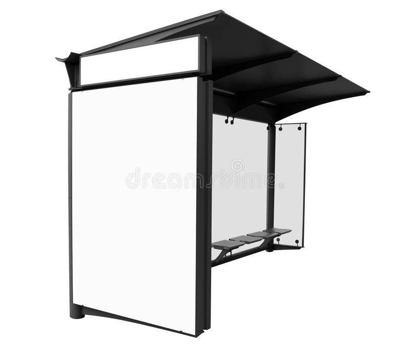 Bus stop with blank banners isolated. On white background. Clipping Path included stock photos
