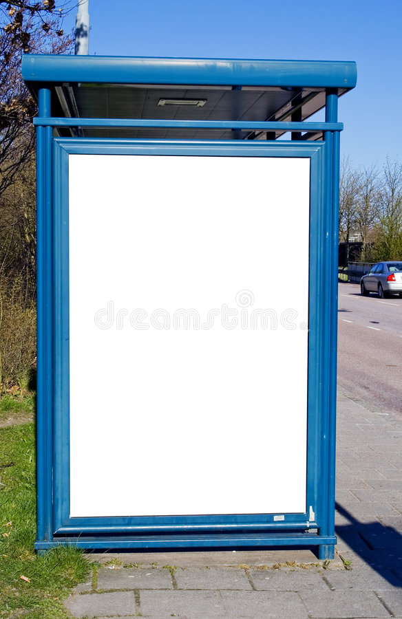 Bus stop with blank bilboard. A bus stop with a blank bilboard for your advertising stock images