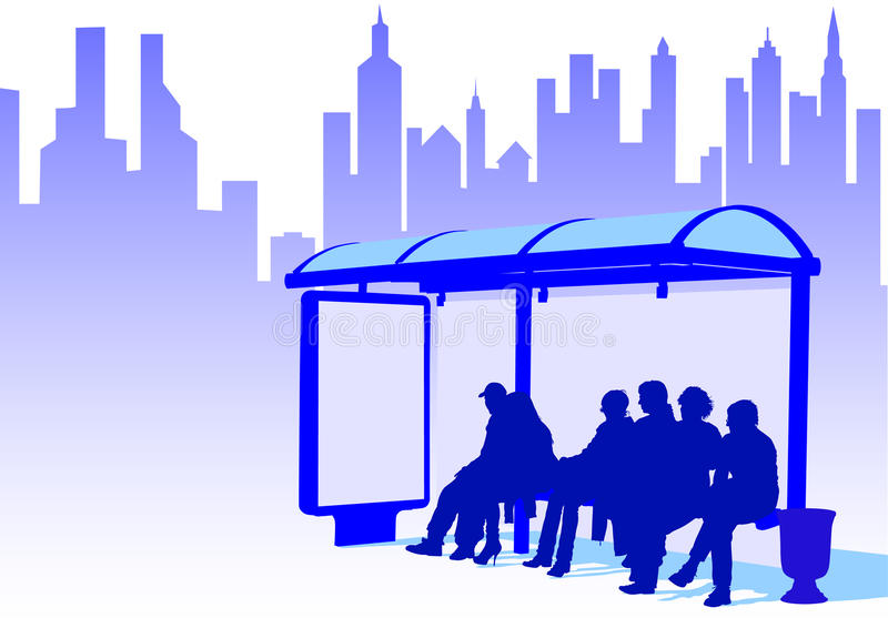 Bus stop in city vector illustration