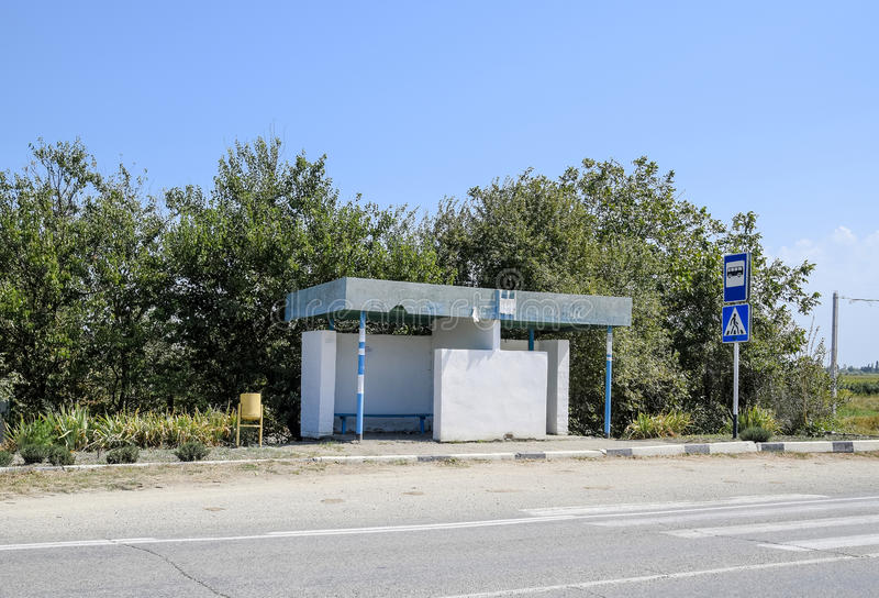 Bus stop in the countryside. Rural landscape. stock photography