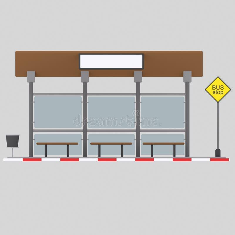 Bus stop .3D stock illustration